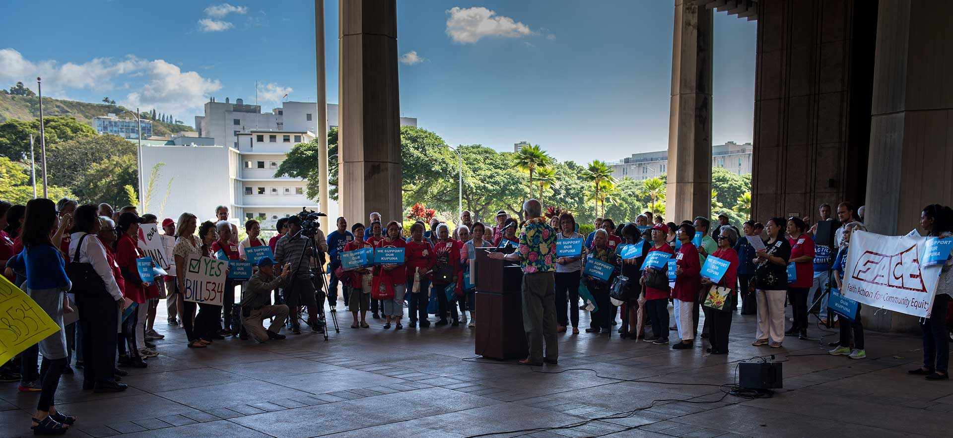 A Kupuna Caregivers rally at the Hawaiʻ State Capitol