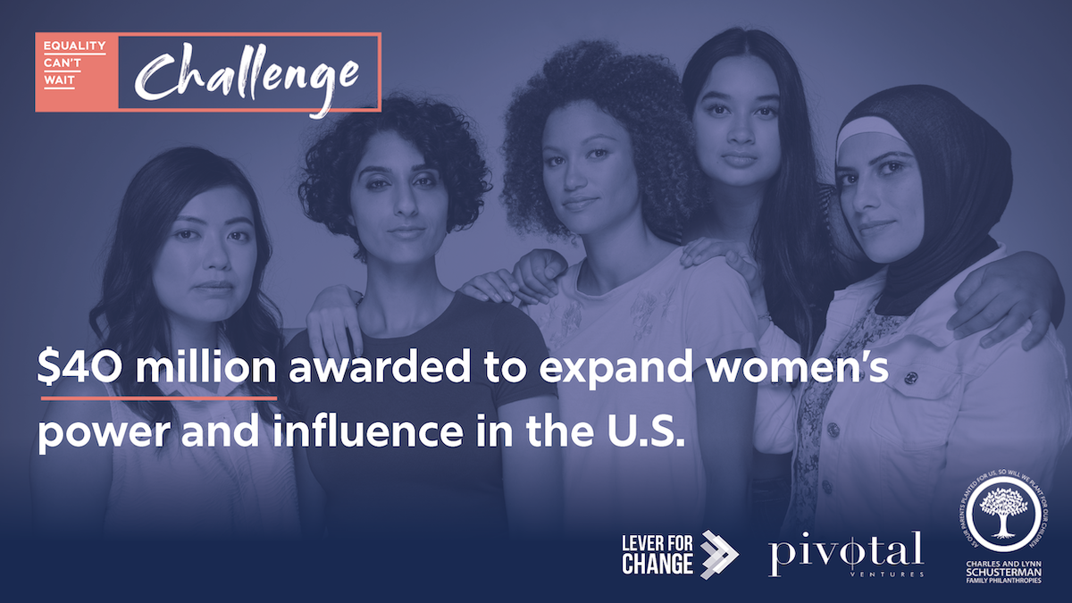 A diverse group of women stand with a purple overlay. $40 million awarded to expand women's power and influence in the U.S.