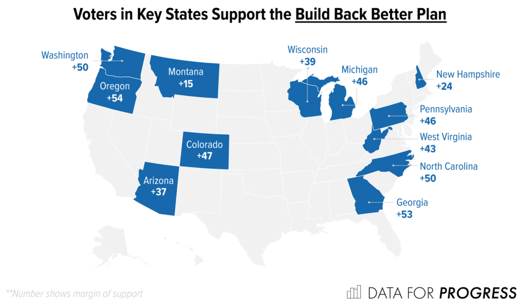 Map of the United States showing the 12 surveyed states in blue, showing that margins in every state support the Build Back Better Plan.